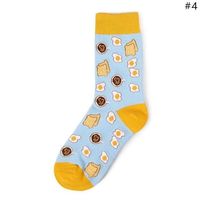 Women Cute Fruit Food Socks Coffee Avocado Apple Cherry Hamburger Egg Donutsdresskily-dresskily