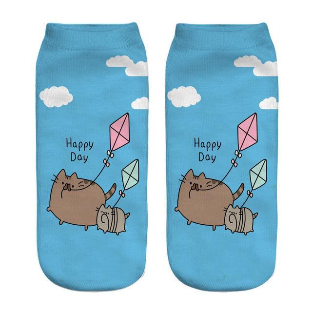 2018 New 3D Printed Cat funny cute cotton ankle socksdresskily-dresskily