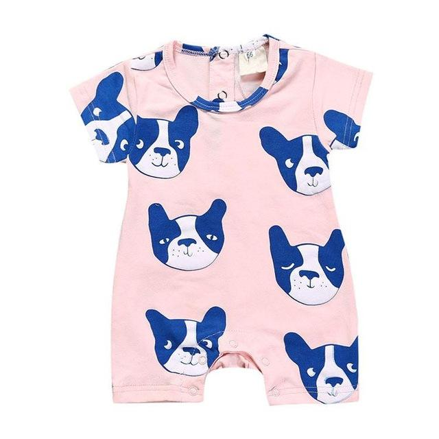 Summer New Tiny Cottons Bobo Choses White Pink Dog Letter Printing Babydresskily-dresskily