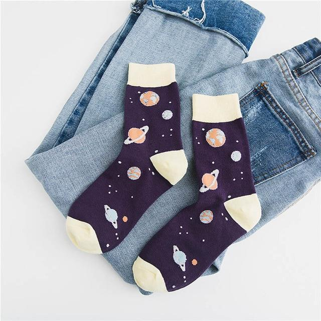 Art Cartoon Planet Creative Crew Cute Funny Socks Abstract Jacquard Painting Divertidosdresskily-dresskily