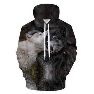 Ying and Yang Wolf Hoodies Streetwear Sweatshirt Casual Hoody Men 3D Pulloverdresskily-dresskily