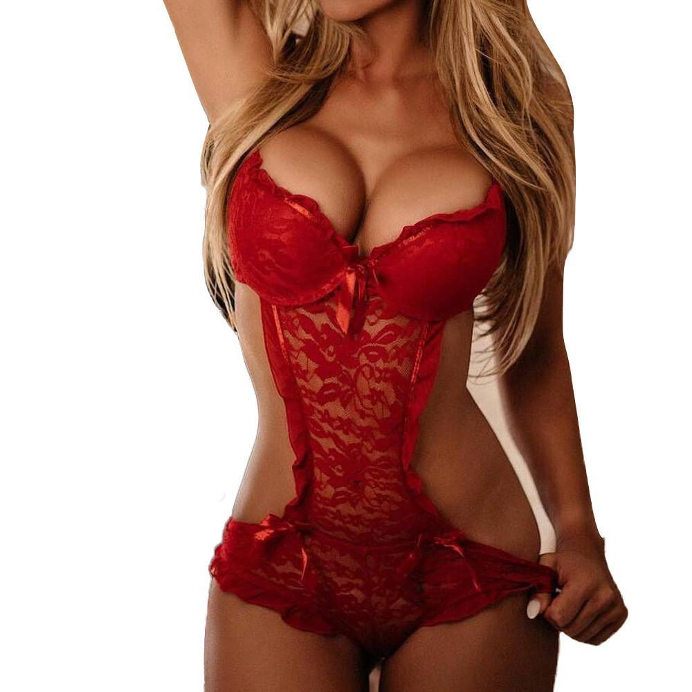 Women Bra Set Sexy Womens underwear Sexy Lingerie Lace Teddy features Plungingdresskily-dresskily