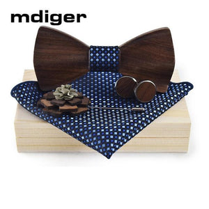 Wood Bowtie+Handkerchief+Brooch+Cufflinks Sets for Mens Suit Wooden Bowtie Floral Printed Bowdresskily-dresskily