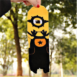 Hot sale! women cartoon socks autumn-winter colorful cotton cute little minions cartoondresskily-dresskily