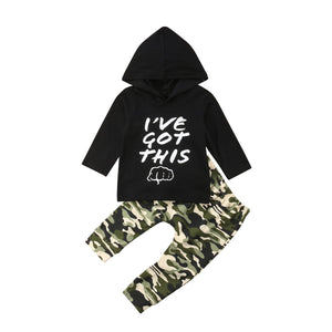2018 Newborn Baby Boy Autumn Clothes Long Sleeve Hooded Hoodies Sweatshirt Tops+Camouflagedresskily-dresskily