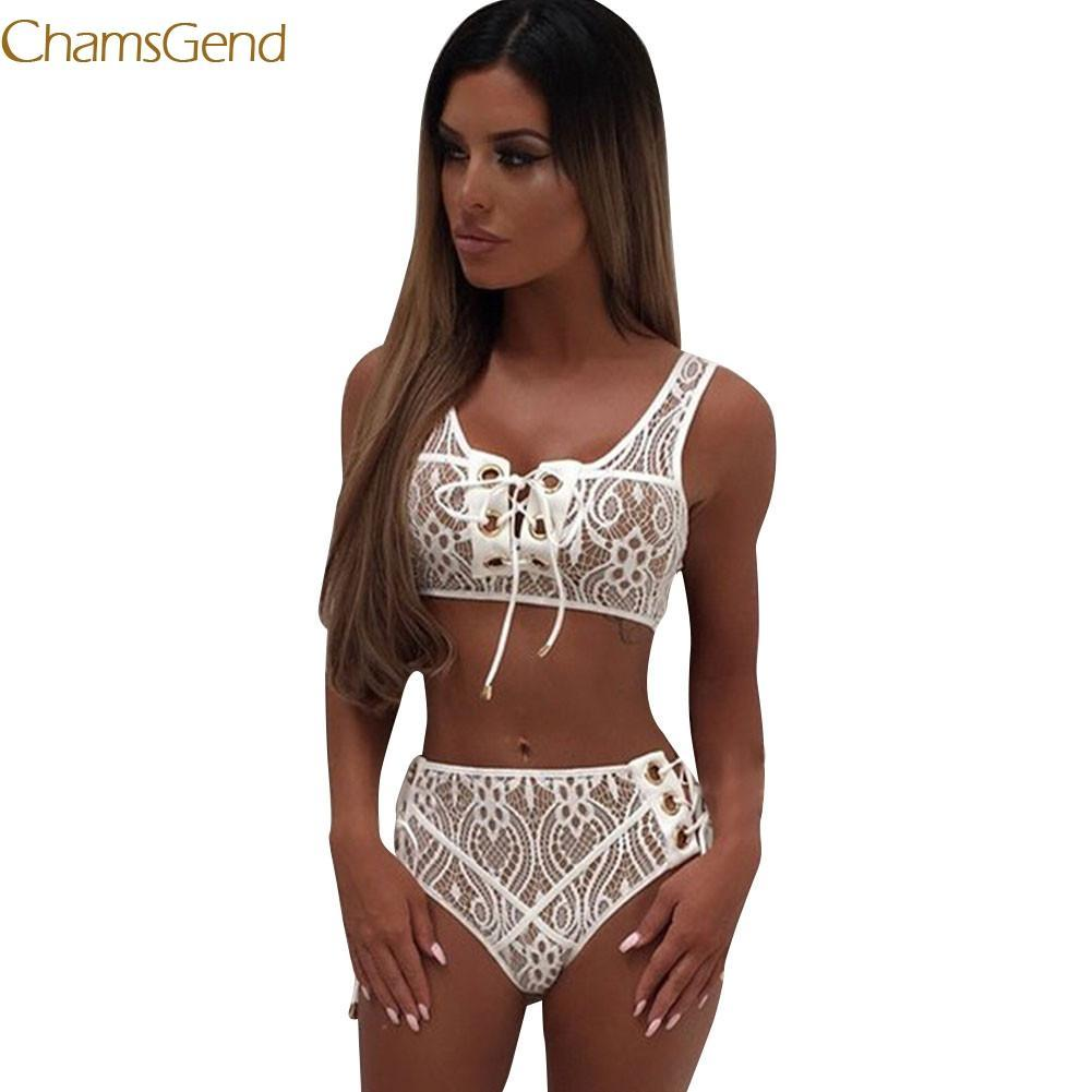 Chamsgend 2017 lace up Sexy Women Bra Set Wire Free Push Updresskily-dresskily