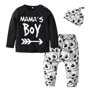 Newborn Baby Boy Clothes Cotton Mama's Boy T-shirt + Panda Pants +dresskily-dresskily