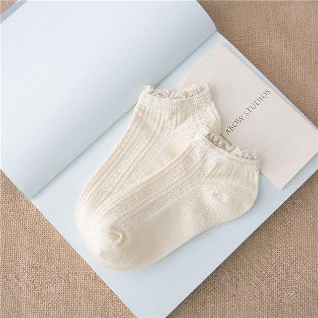 2018 spring summer women socks short cotton solid color lace cute ankledresskily-dresskily