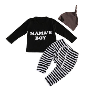 3Pcs Newborn Baby Boys Clothes Cotton Long Sleeve Black Romper Jumpsuit Stripeddresskily-dresskily