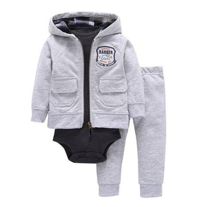 Fashion Style 3pcs(Long-sleeved Striped Hooded Pockets Zipper Coat+Solid Red Romper+Pants)Baby Boy 2018dresskily-dresskily