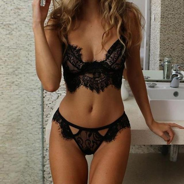 2018 New Women Underwear Eyelash Triangle Bra Panty Set Unlined Bralette Setdresskily-dresskily