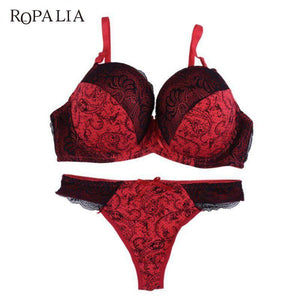Sexy Women Lace Embroidered Padded Lingerie Push up Bra sets Underwiredresskily-dresskily