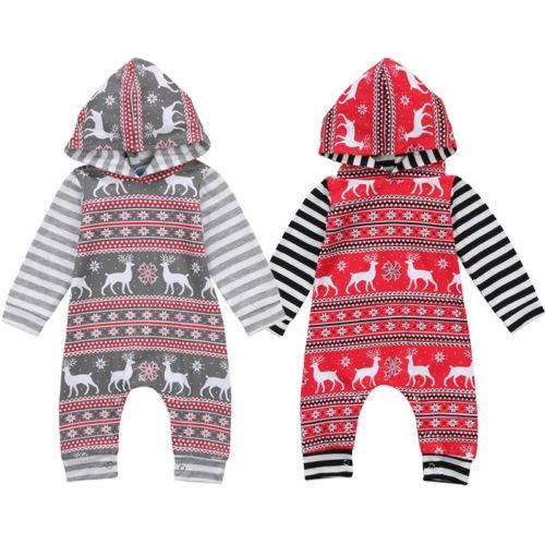 Christmas Baby Boys Girls Clothes Long Sleeve Patchwork Hooded Hoodies Deer Jumpsuitdresskily-dresskily