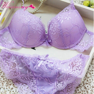 New Women Cute Sexy Underwear Satin Lace Embroidery Bra Sets Withdresskily-dresskily