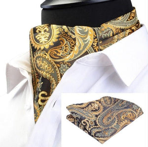 Fashion Brand Men Handkerchief Cravat Set Silk Paisley Pattern Gentlemen Dotsdresskily-dresskily
