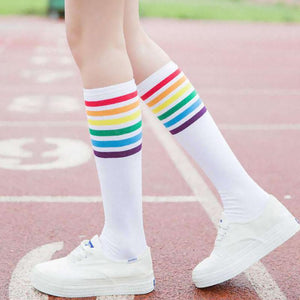 New Fashion multicolor stripes cotton sexy womens long socks Student style styledresskily-dresskily