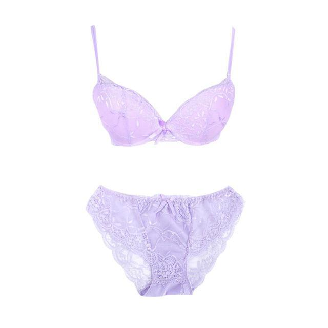 Sexy Women Embroidery Lace Floral Lingerie Underwear Push-Up Bra Set Panty dresskily-dresskily