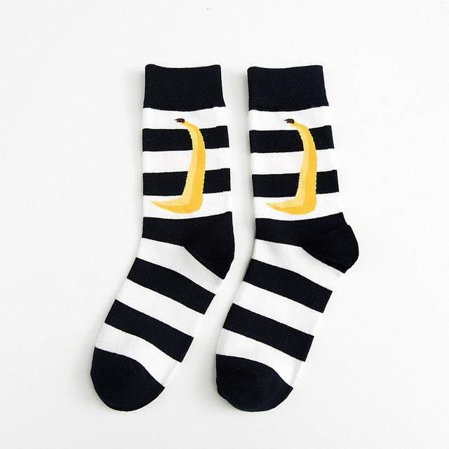 PEONFLY 2018 Autumn Winter Fashion Hit Color Socks Personality Lattice Striped Bananadresskily-dresskily