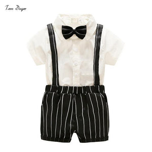 Summer Baby Boys Clothing Sets Gentleman Suits Bow tie Romper Shirtsdresskily-dresskily