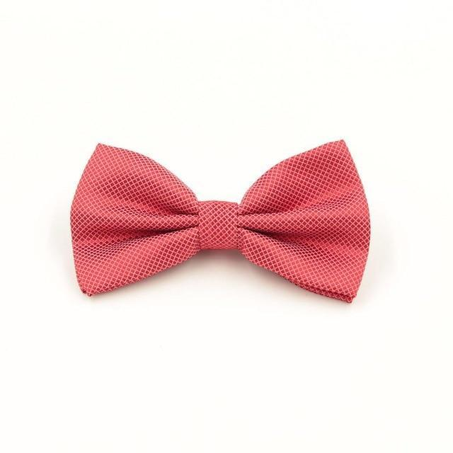 Father's Day Mens Bowtie Fashion Red Jacquard Plaid Grid Soliddresskily-dresskily