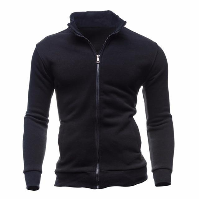 Drop Shipping Fashion Classic Black/Gray Mens Long Sleeve Hoodies Solid Colordresskily-dresskily
