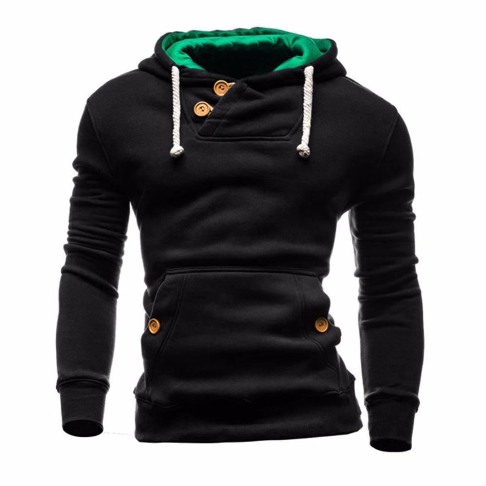 2018 Fashion Men Hoodies Long Sleeve Button Slim Fit Hooded Sweatshirt Topdresskily-dresskily