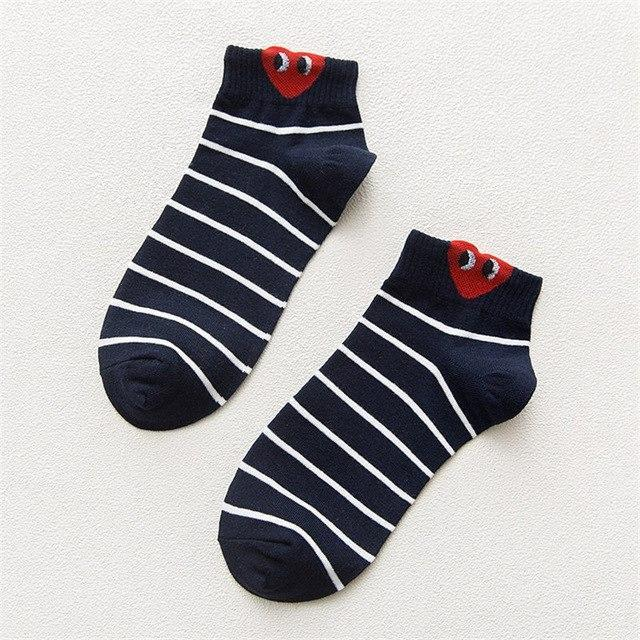 Red Heart Cute College Wind Simple Basic Funny Female Socks Warm Comfortabledresskily-dresskily