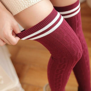Fashion College Wind Women Hot Thigh High Socks Sexy Warm Cotton Overdresskily-dresskily
