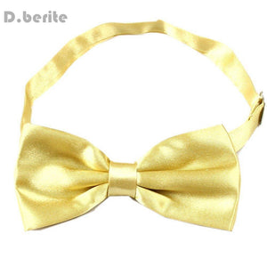 Tuxedo Men's Bowtie Adjustable Wedding Groom Party Satin Solid Gold Bow Tiedresskily-dresskily