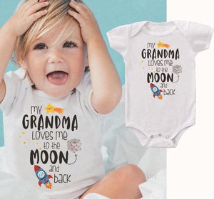 Unisex Kids Bodysuits 0-24Months Infant Outfits Grandma Loves Me To The Moondresskily-dresskily