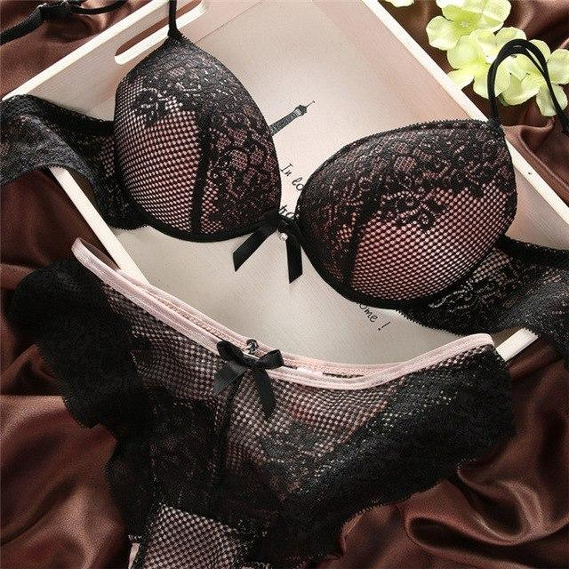 Women Lace Sexy Lingerie Push Up Bra and Panty Set Cotton Embroiderydresskily-dresskily