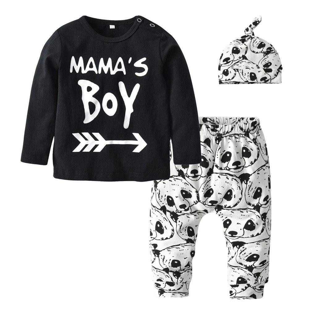 3Pcs Infant Clothing Set Autumn Newborn Clothes Baby Mama's Boy Long Sleevedresskily-dresskily