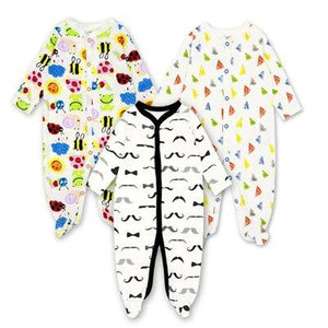 3pieces/lot 100% Cotton Baby Romper Long Sleeves Baby Pajamas Cartoon Printed Newborndresskily-dresskily