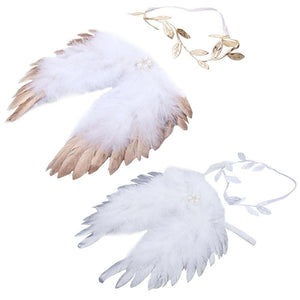 Newborn Girls&Boy Angel Feather Wings+ Leaves Pattern Hair Headband Set Baby Clothesdresskily-dresskily