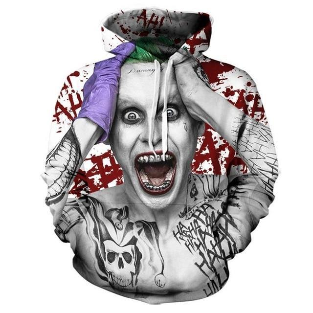 Suicide squad Joker 3D Hoodies Sweatshirts Men Brand Tracksuits Printed Pullover Hoodeddresskily-dresskily