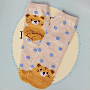 Cute Cartoon Woman Socks Cotton Kawaii Animals Cat Dog Ladies Funny Socksdresskily-dresskily