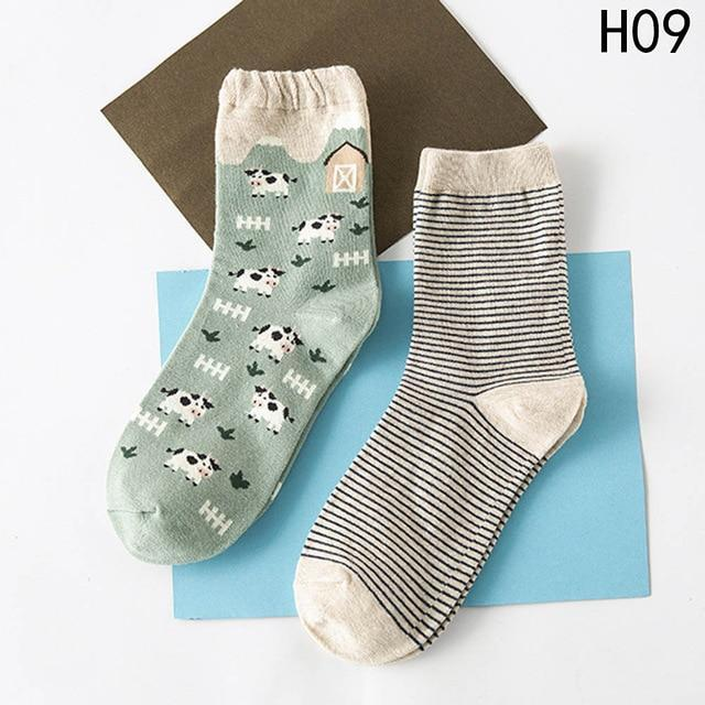 2 Pairs/Set Autumn Winter New Cute Animal Women Sock Art Abstraction Creativedresskily-dresskily