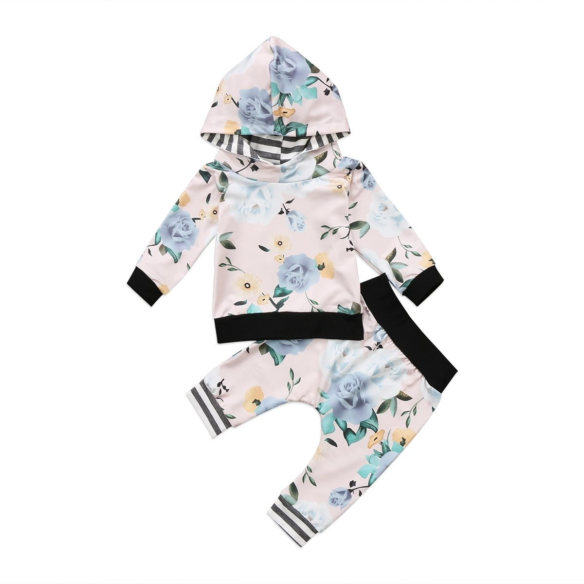 Newborn Toddler Baby Girl Floral Hooded Sweatershirts Top+Pants Outfit Set Clothesdresskily-dresskily