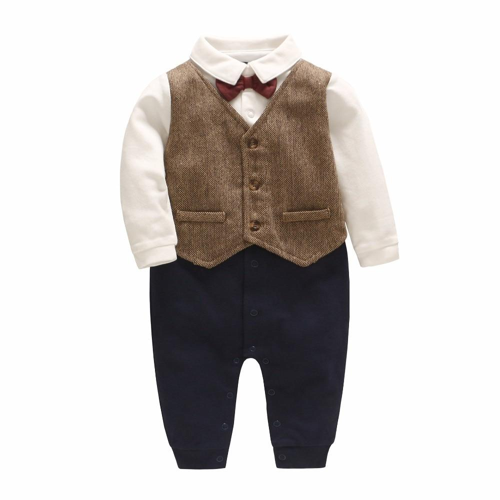 Wear Red Cravat Long Sleeved Gentleman Baby Rompers vetement enfant garcondresskily-dresskily