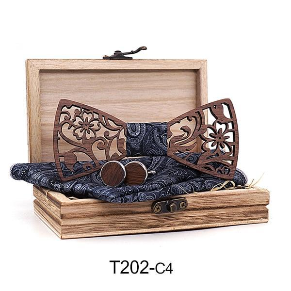 Mens 4PCS Wooden bow Tie Set Men Handkerchief wood Bowtie Cufflinks Necktiedresskily-dresskily
