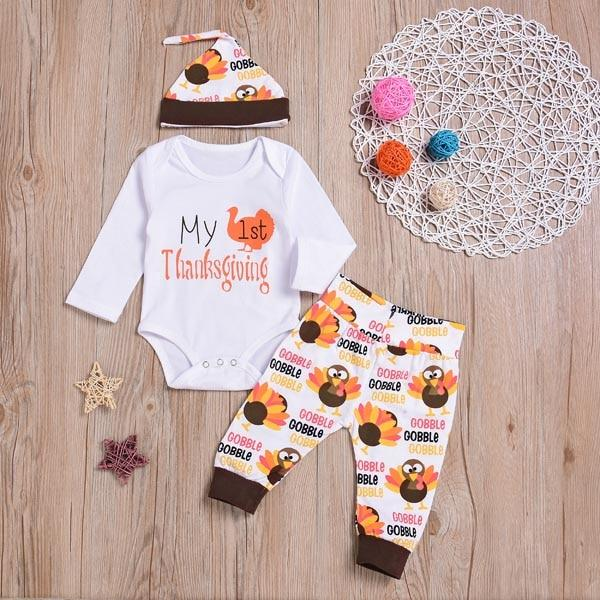 Newborn Baby boys girls clothes My first Thanksgiving Letter print Bodysuit+pants+Hat 3pcsdresskily-dresskily