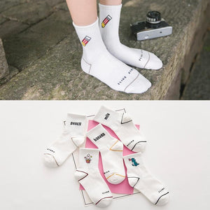 Fashion Autunm English Letter Cartoon Cute College Wind Cotton Casual Female Socksdresskily-dresskily
