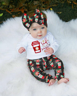 Xmas Cotton Lovely Toddler Baby Boys Girls Christmas Romper + Long Pantsdresskily-dresskily