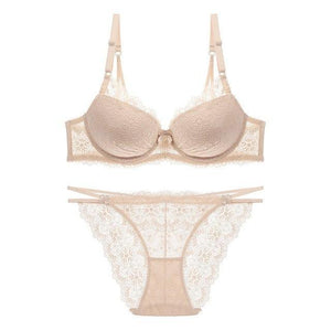 Femal Intimates Floral Lace Lingerie Set Hollow Out Back Underwear Womendresskily-dresskily