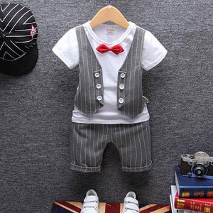 1 year birthday gentleman newborn baby boy clothes formal striped short sleevedresskily-dresskily
