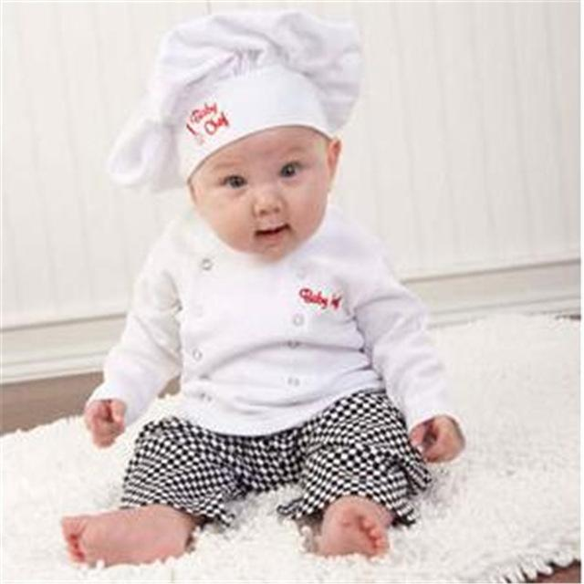 Hot !!! Cute Baby infant toddler Chef cotton Costume 3 piece clothesdresskily-dresskily