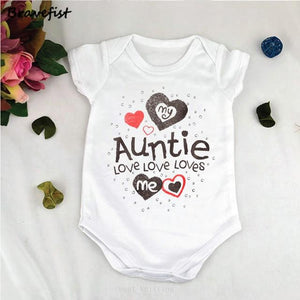 White Newborn Bodysuits My Auntie Loves Me Letters Print Baby Jumpsuits Summerdresskily-dresskily
