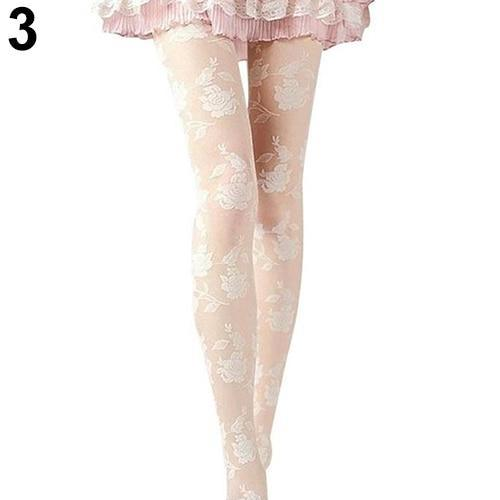2016 New Women Fashion Rose Pattern Tight Lace Pantyhose Sexy See-through Stockingsdresskily-dresskily