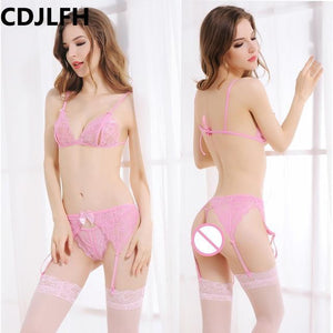 2018 Women Hot Sexy transparent Bra + brief + Silk Socksdresskily-dresskily