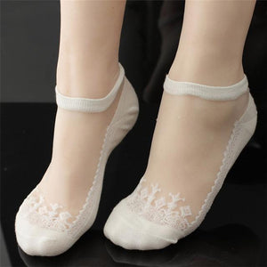 Coolbeener socks women meias Ultrathin Transparent calcetines Beautiful Crystal Lace Elasticdresskily-dresskily